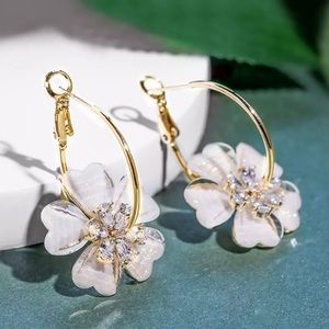 Big Beautiful White Flower Earrings